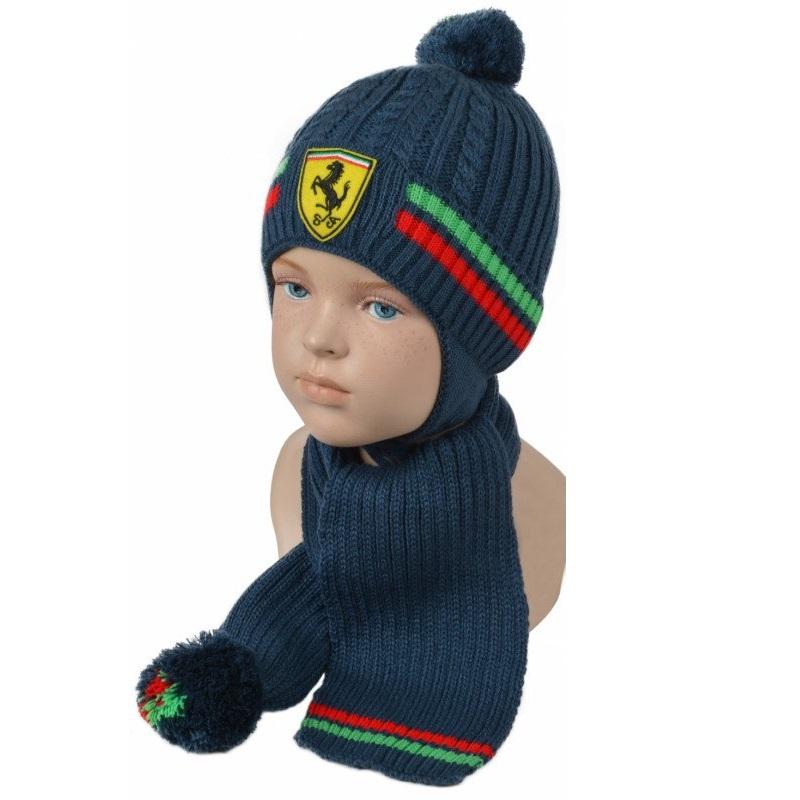 """Комплект для мальчика """"Шапка и шарф"""" 48-50"""